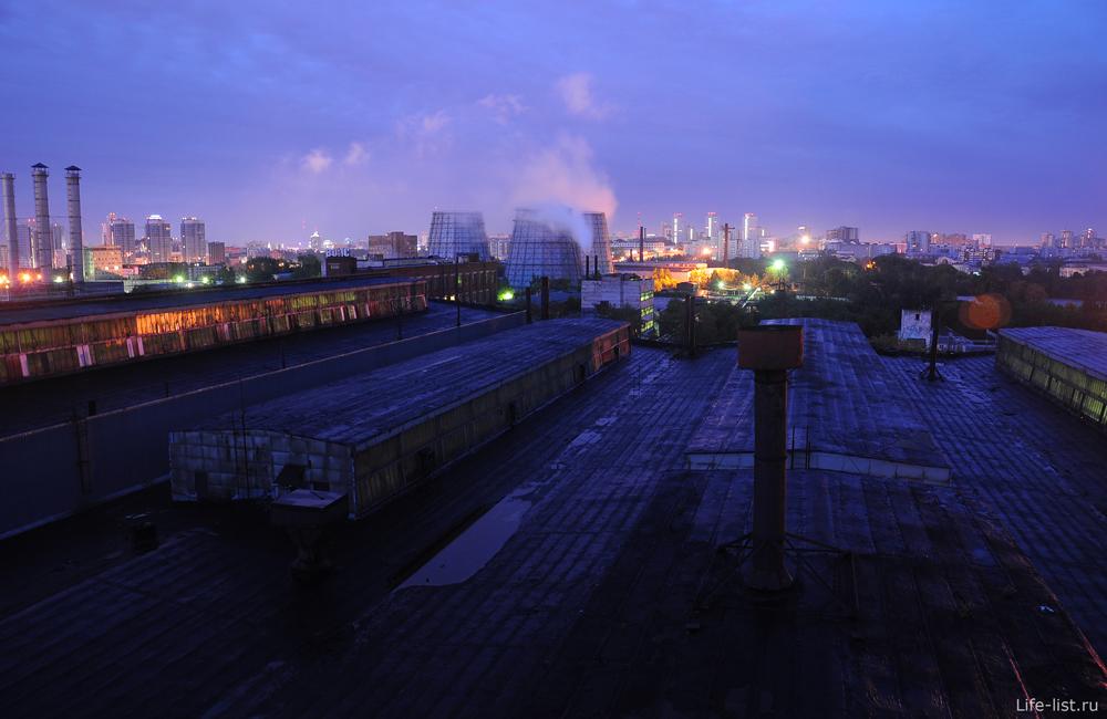 Ночная съемка завода