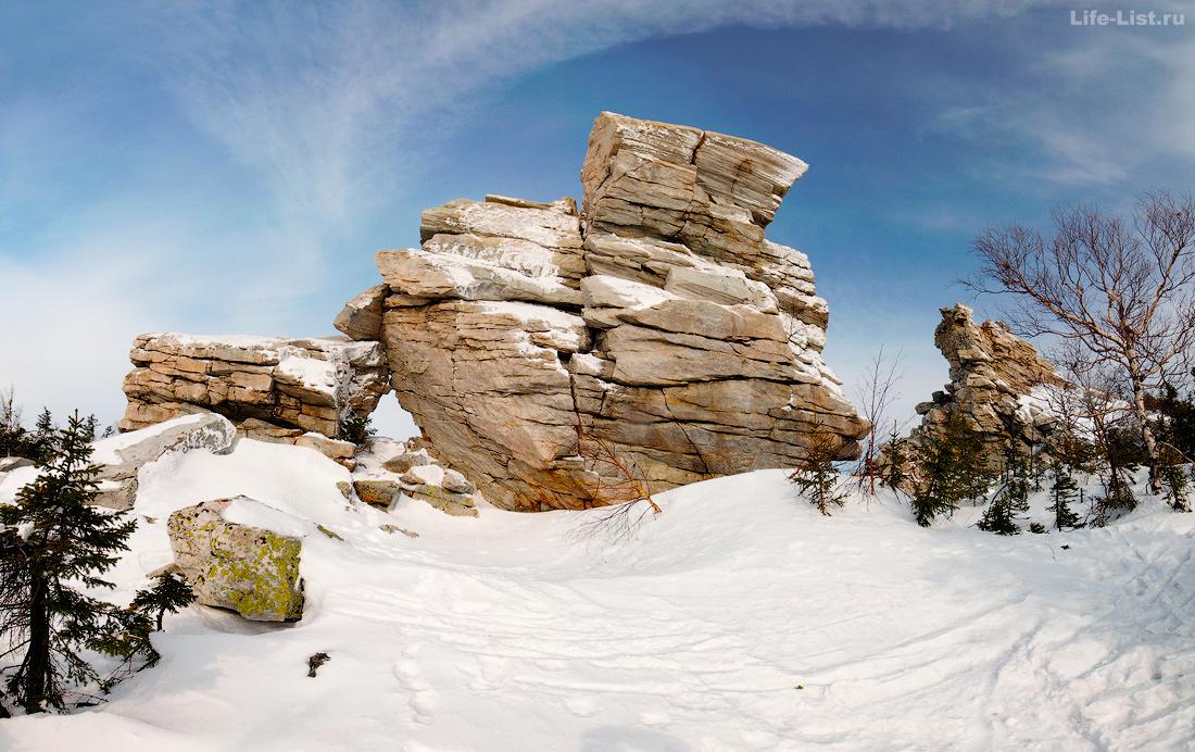 скалы Средние ворота дырка в скале Чертово городище Юрма