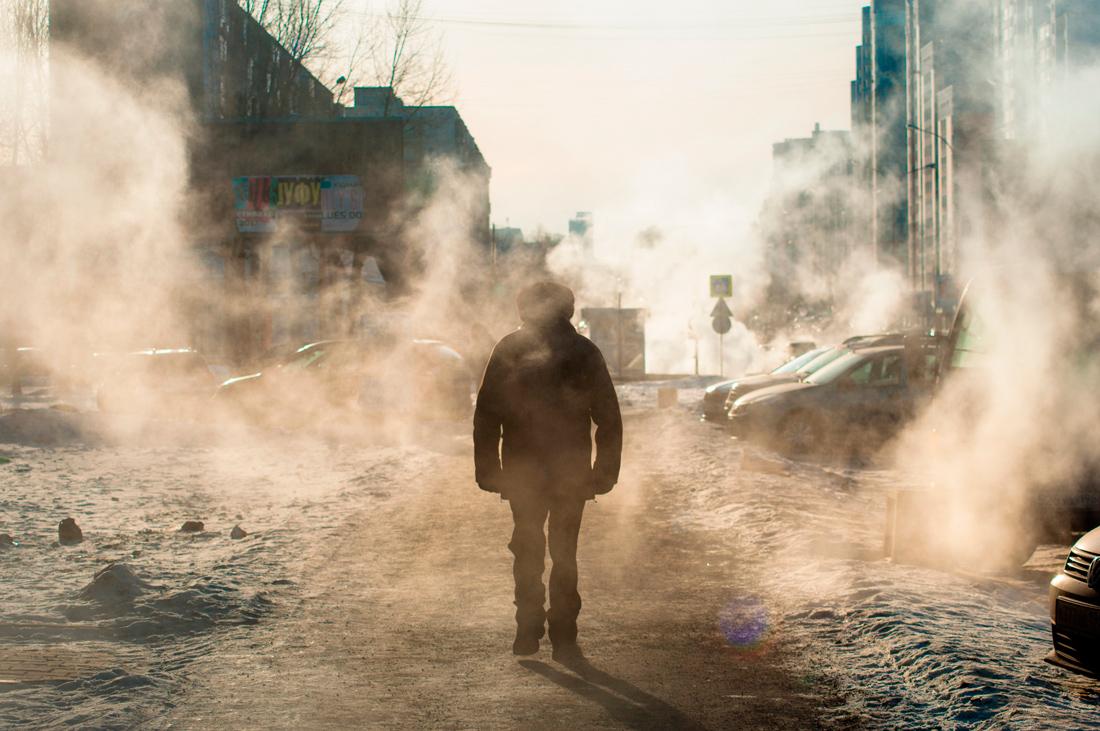 Серия русская зима город прохожий